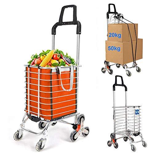 Lebensmittel-Wäscherei-Dienstprogramm-faltbarer Einkaufswagen-Wagen, Aluminiumlegierung-8-Rad-Treppensteigen, Tragfähigkeit 50kg, freier Haken-Gepäckseil-Speicher-Beutel - 35L Kapazität, Purpur, C