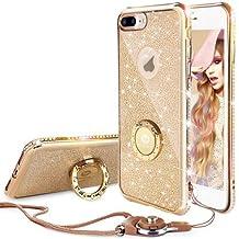 Funda iPhone 7,Banca Correa Para el Cuello Movil Bling Glitter Resplandecer Diamante de Imitación Transparente Caso el iPhone 7- Oro