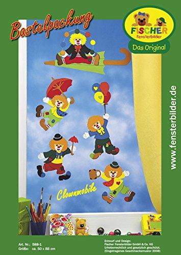 Fischer Fensterbild CLOWNS-MOBILE/Bastelpackung/ca.50x88 cm/zum Selberbasteln/Basteln mit Papier und Pappe