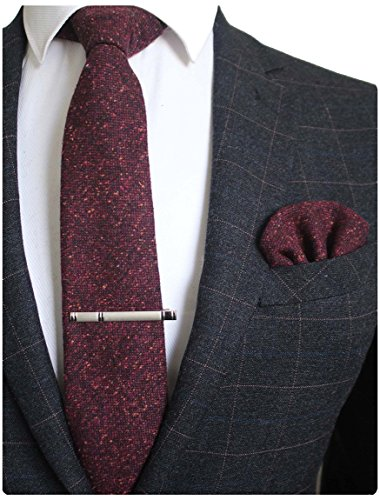 RBOCOTT Burgundy Wool Tie and Po...