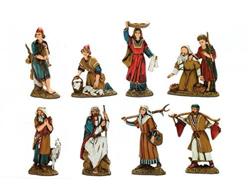 BERTONI 8einfache Krippe Figuren in historischen Kostüme, Holz, mehrfarbig, 10x 30x 30cm