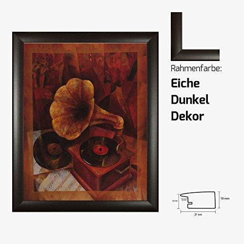 Kunstdruck 20er Plattenspieler Schallplatten Venyl Musik Swing gemalt 40 x 50 cm mit MDF-Bilderrahmen Pisa & Acrylglas reflexfrei, viele Farben zur Auswahl, hier Eiche Dunkel Dekor - Eiche Plattenspieler