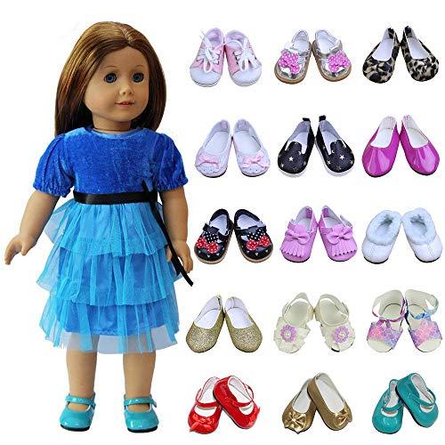 ZITA ELEMENT 5 Paare Puppenschuhe für 43cm 45-46cm American Babypuppen Girl Doll Ebeneschuhe Turnschuhe Stiefel Sandalen Puppenkleidung Zufällig Auswahlen - Element Girls Stiefel