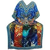 Mogul Interior Womens Kaftan Housedress Blue Printed Cover Up Caftan Evening Maxi Dresses