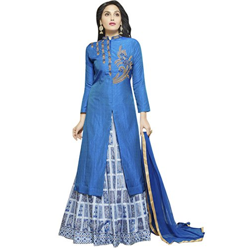 SHELINA Women Blue Silk Embroidered Semi-Stitched Partywear Salwar Suit