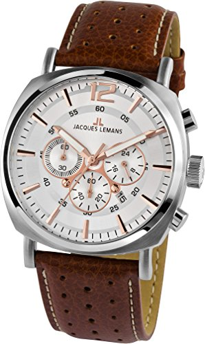 Jacques Lemans Lugano 1-1645D Men's Brown Leather Strap Watch