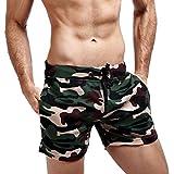 Kanpola Herren Badeshorts Kurz Badehose Sport Training Kurzhose Schwimmhose Strand Sommer Shorts Camouflage