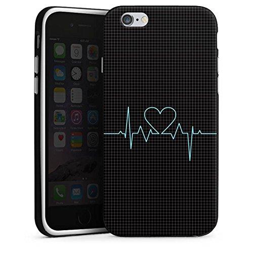 Apple iPhone X Silikon Hülle Case Schutzhülle Herz Liebe Herzschlag Silikon Case schwarz / weiß