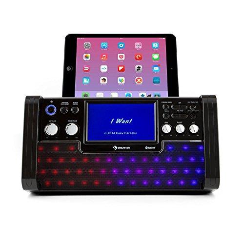 auna DiscoFever • Karaoke Anlage • Karaokeplayer • Karaoke Set • Bluetooth • 7 Zoll TFT-Display • 1 x dynamisches Mikrofon • LED-Effekte • CD+G-Player • USB-Port • Echo-Effekt • A.V.C. Funktion • Video-Ausgang • AUX-Eingang • Aufnahmefunktion • schwarz - 2