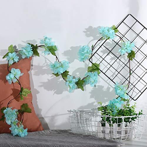 Gaddrt Cherry Blossom Rattan Artificiale Verde Foglia Vite Garland Wedding Bouquet Party Home Decor Blue