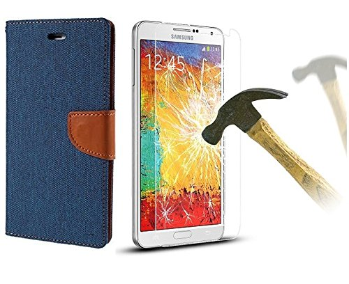 HTC Desire 820 Premium Flip Cover And Tempered Glass (Matte Blue) By Online Street  available at amazon for Rs.249