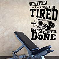 Wall Stickers Murals Large Fitness Bodybuilding Crossfit Quote Wall Decal Gym Workout Inspirational Dumbbell Wall Sticker Exercise Vinyl Sport Art 77X56Cm