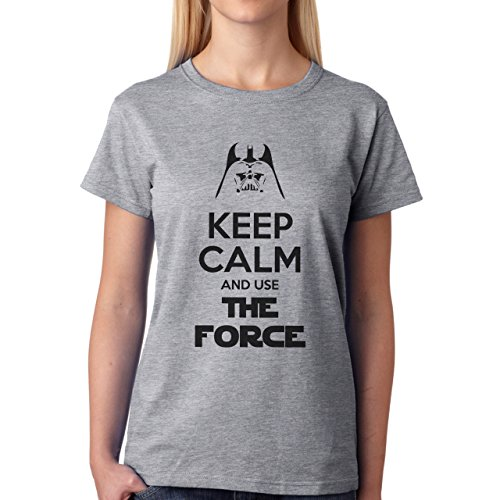 Star Wars Keep Callm And Us The Force Damen T-Shirt Grau