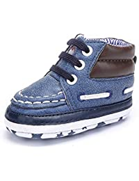 DELEBAO Botas de Bebé Zapatitos de Recien Nacido Primeros Pasos Zapatos para Caminar Zapatillas Bebe con Suela Blanda Botines para…