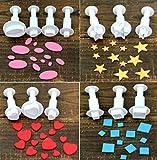 Stampini per fondente, set da 13 pezzi, motivo geometrico a forma di cuore, rotondi, quadrati, ovali, piccoli, medi e grandi dimensioni