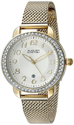 August Steiner Women's AS8192YG Sunburst Effect Gold Ion-Plated Watch