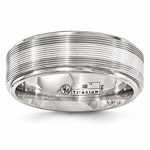 Diamond2Deal - Alianza de boda para mujer, titanio y oro blanco de 14 K, líneas con textura, 7,5 mm, talla 12