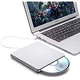 Masterizzatore DVD Esterno USB 2.0, BESTRUNNER DVD-RW Scrittura / Lettore CD / DVD per Windows 2000/XP/Vista/7/8/8.1/10, Mac OS, Apple Macbook, Laptops, Desktop Argento
