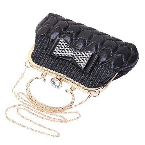 Damara® Damen Eleganz Bowknot Mit Crystal Abendtasche Gold
