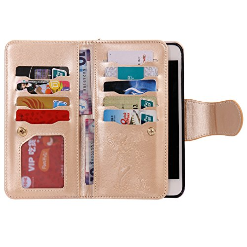 iPhone 7 PLUS Hülle Rose Gold Cozy Hut® PU Leder Wallet Case Folio Ledertasche Handyhülle Case für Apple iPhone 7 PLUS (5.5 zoll) mit Magnetverschluss [Trageschlaufe Cover] Flip Bookstyle Wallet Ständ golden