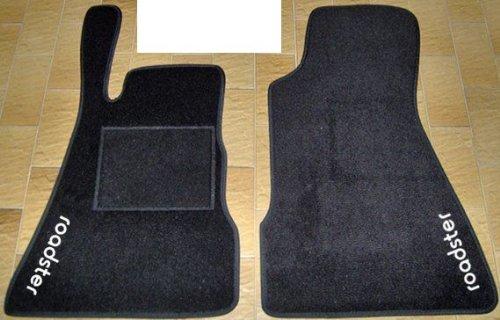 Smart Roadster Alfombras para coche, juego completo de alfombrillas sobre tamaño de moqueta negro con bordado de hilo Bianco