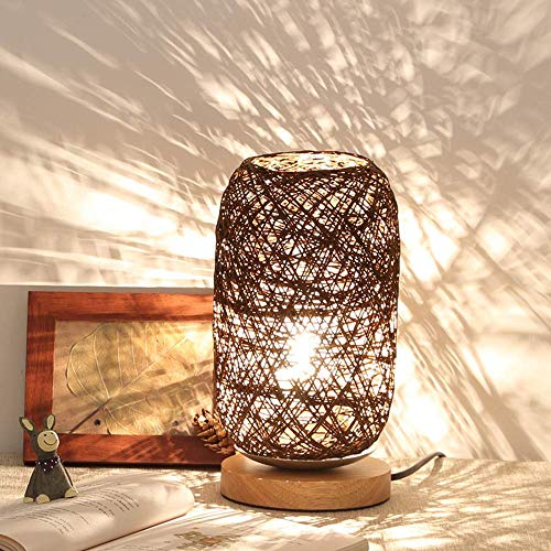 mpe Holz Rattan Schnur Kugel Lichter Tischlampe Zimmer Home Art Decor Schreibtisch Licht (Braun) Kreative dimmbar,Brown ()