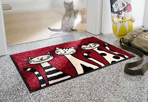 Bavaria Homee Style Collection wash+Dry Fussmatten Fußmatten Sauberlaufmatten 50x75 cm 6 Verschiedene Motive 30°C Waschbar, Rutschfest (Three Cats-3 Katzen)