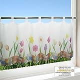 Scheibengardine FRÜHLINGSPRACHT für Küche / weiße Wohnzimmer Bistrogardine / 45x120 cm / Moderne und transparente Gardine für den Frühling und Sommer
