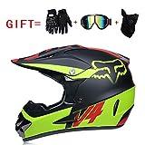 Yedina Jugendmotorrad-Off-Road-Helm ATV Roller Off-Road-Helm D.O.T Zertifizierung, Geschenkhandschuhe Maske Brille (S, M, L, XL),XL