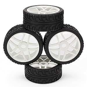 DN HSP RC 1:8 voiture tout-terrain étoiles roue moyeu jantes Grip Grain pneus noir blanc (Pack de 4)