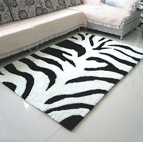 Alfombra suave y cómodo / elegante Cifrado gruesa alfombra del salón dormitorio alfombra junto a la cama del vector del sofá alfombra manta pavimentada alfombra rectángulo (color: cebra blanco y negro) Necesidades familiares ( Tamaño : #2 )