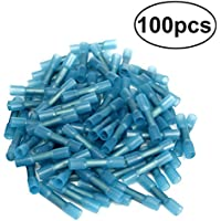 UKCOCO 100Pcs terminales termocontraíbles de los conectores de la prenda impermeable aislaron el equipo aislado de los conectores de la encrespadura del alambre azul