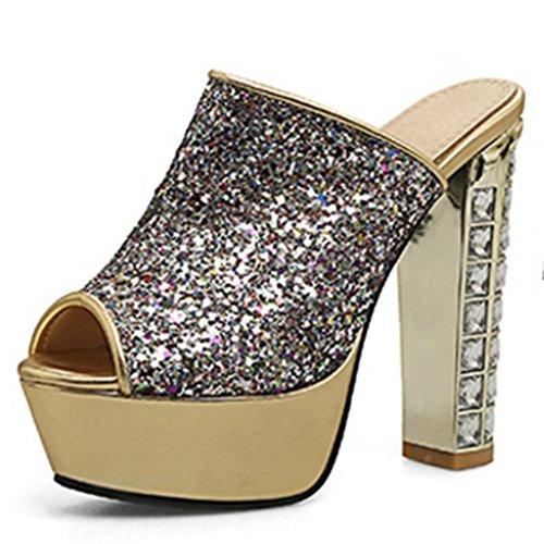 COOLCEPT Femme Mode Peep Toe Pantoufle Plateforme Talon Bloc Chaussures 1508or