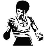 Wadeco Bruce Lee Wandtattoo Wandsticker Wandaufkleber 35 Farben verschiedene Größen, 62cm x 70cm, schwarz