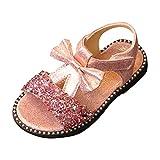 Zylione H-812 Kinder Mädchen Pailletten Bogen Prinzessin Schuhe einzelne Schuhe Sandalen
