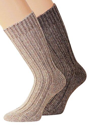 """Lot de 2 paires de chaussettes d'hiver doux et chaud laine de chaussettes """"pieds au chaud dans le froid de l'hiver"""" - Beige - 39-42"""