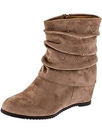 8cec70f6e0 Fashionteam24 Damen Stiefeletten Winter Schuhe mit Keilabsatz in  Wildlederoptik Strasssteine