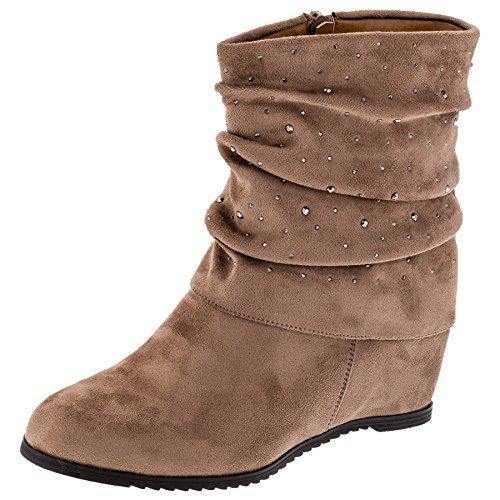 Fashionteam24 Damen Stiefeletten Winter Schuhe mit Keilabsatz in Wildlederoptik Strasssteine M491be Beige 37 EU