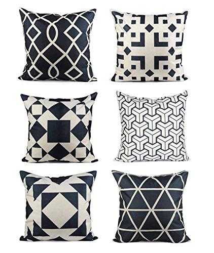 Innoter - Lot de 6 housses de coussin de décoration en coton de lin 45 x 45 cm