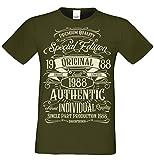 T-Shirt Geschenk zum 30. Geburtstag Special Edition 1988 Bruder Sohn Freund Papa Opa Farbe: Khaki Gr: S