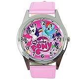 Taport, orologio al quarzo My Little Pony, cinturino in pelle rosa, quadrante rosa, con batteria di ricambio e sacchetto regalo