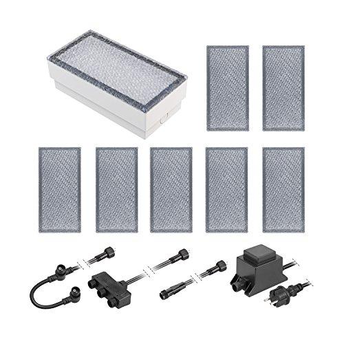 ledscom.de LED Pflaster-Stein Gorgon Boden-Einbauleuchte für außen, 20x10cm, 12V, kalt-weiß 8er Set