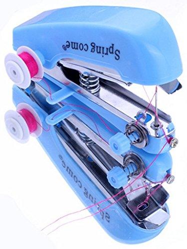 EOZY Mini Máquina De Coser Con Accesorios Pequeña Máquinas Portátil De Mano Práctico Azul