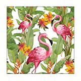 Ambiente - Luxury Paper Products 20 Serviettes Blanches Flamingo 33 CM