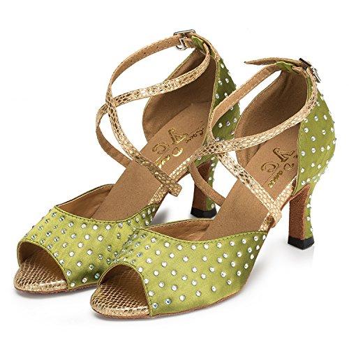 Minitoo cristaux pour femme en Satin pour mariage fête-Chaussures Sandales Latin écoles de danse green