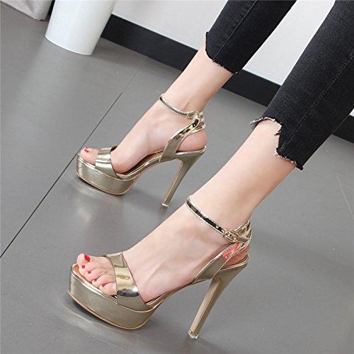Xue Qiqi Wild donne scarpe con i tacchi alti bene con acqua cinghia scanalata sandali color champagne,38, oro
