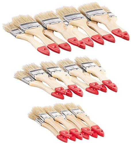 AGT Malerpinsel-Set: 30-teiliges Flachpinsel-Set mit Holzstielen und Naturborsten, 3 Größen (Pinsel-Sets)