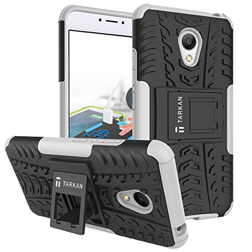 TARKAN Hard Armor Hybrid Rubber Bumper Kick Stand Back Case Cover For Meizu M3 Note [White]  available at amazon for Rs.179