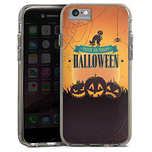 Apple iPhone 8 Bumper Hülle Bumper Case Glitzer Hülle Halloween Pumpkin Trick or Treat Bumper Case transparent grau