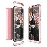 Winhoo Kompatibel mit Huawei Honor Play 8A Hülle Hardcase 3 in 1 Handyhülle 360 Grad Schutz Ultra Dünn Slim Hard Full Body Case Cover Backcover Schutzhülle Bumper - Rose Gold